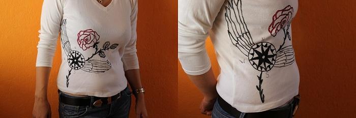 Pullover mit Textilfarbe bemalen