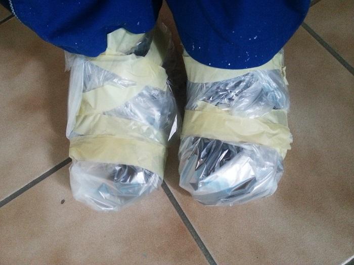 Wohnung streichen, Schuhe schützen
