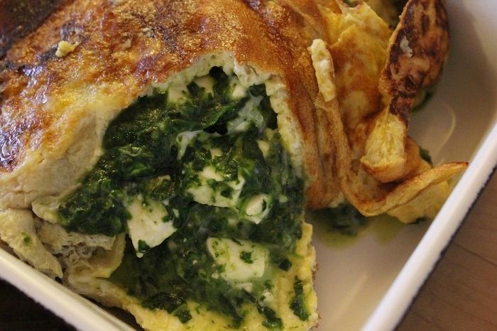 Low Carb - Omelett mit Spinat und Feta