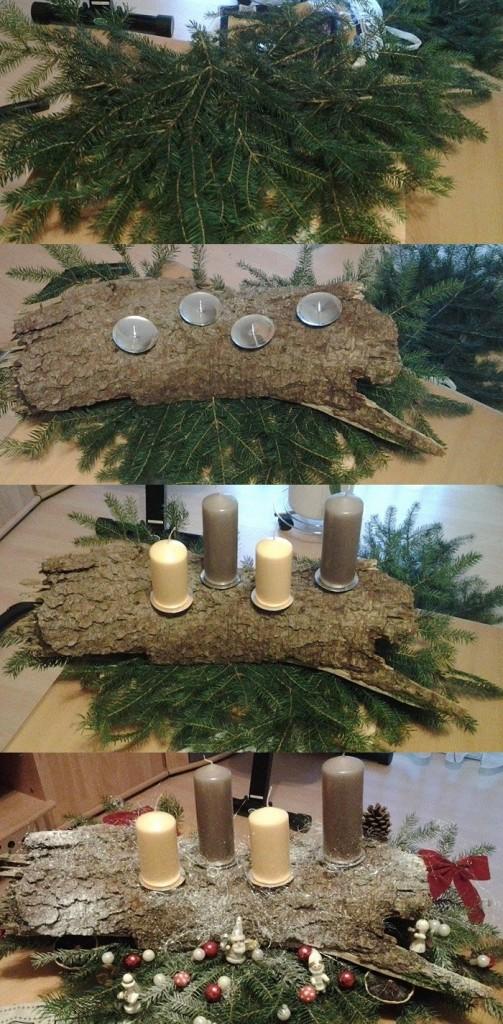 selbstgemachter Adventskranz mit Zweigen