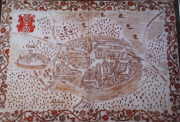 Karte von Gau-Algesheim aus dem Mittelalter
