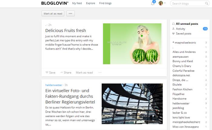 Feedreader: Bloglovin