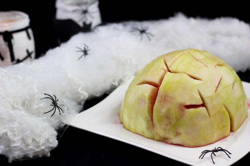 Halloweensnacks aus Obst| Gehirn aus Wassermelone